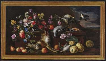 Flower still-life with hunting prey