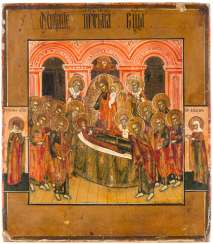 A SMALL ICON WITH THE DORMITION OF THE MOTHER OF GOD
