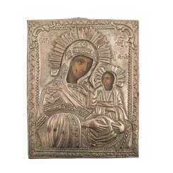 Mother of God icon with Metalloklad, RUSSIA, around 1900.