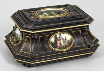Large ceremonial casket with porcelain plaques by KPM Berlin