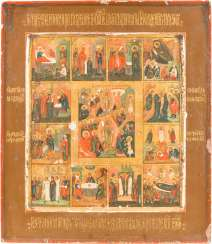 ICON OF THE DESCENT INTO HELL AND RESURRECTION OF CHRIST WITH THE TWELVE GREAT FEASTS OF THE ORTHODOX CHURCH YEAR