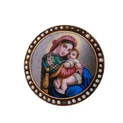 "Brooch ""Maria with Child"" enamel painting,"