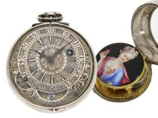 Pocket watch: important of London pocket watch with pseudo-spherical and ultra-fine enamel magnifying glass-painting in the style of Mussard, Simon Decharmes, London , CA. 1690