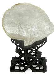 MOTHER OF PEARL SHELL ON WOOD STAND,