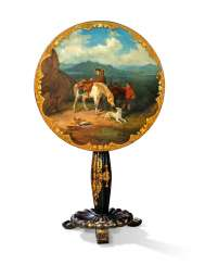 A MID-VICTORIAN POLYCHROME-DECORATED GILT AND BLACK LACQUER OCCASIONAL TABLE