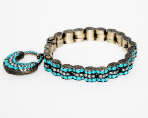 Bracelet with turquoise and pearls gold 500
