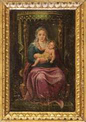 The Madonna And Child Enthroned - BEAUTIFUL ANTIQUE OIL PAINTING  - From The 16th 17h Centuries