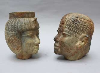 Two Stone Heads in Egyptian Taste