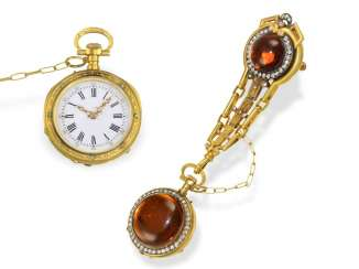Anhängeuhr: exquisite French neo-Renaissance Chatelaineuhr with stone case and diamonds, France, around 1880/90