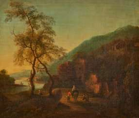 Italian river landscape with travelers