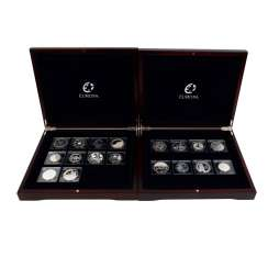 EUROPE coins - 2 wooden boxes with