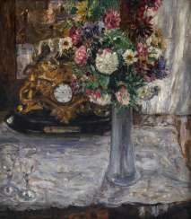 Still life with flowers and clock