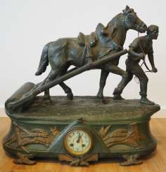 Edouard Drouot: bronze sculpture with integrated clock - worker and horse.