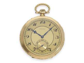 Pocket watch: extremely elegant and very fine Art Deco Frackuhr in the very rare chronometer quality