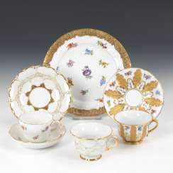 3 mocha cups and 1 plate, MEISSEN