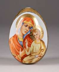 EASTER EGG WITH THE MOTHER OF GOD AND SAINT GEORGE THE DRAGON SLAYER Russia