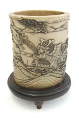 Brush Cup is made of ivory with a depiction of the Gentoku on a wooden stand mounted