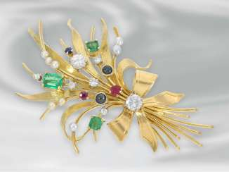 Brooch/needle: very decorative loops brooch with different color stones as well as brilliant stocking, time-consuming hand work made of 18K Gold