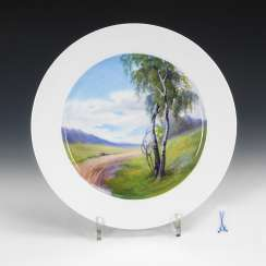 Plate with landscape painting, MEISSEN.