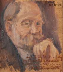 NIKOLAJ DMITRIEWITSCH MILIOTI 1874 Moscow - 1962 Paris Portrait by W. Toporov Oil on cardboard. 37 cm x 32 cm. Frame. With a dedication in Cyrillic 'To W. Toporow' lower right