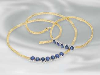 Chain/necklace/bracelet/Ring: very attractive and in near mint condition-preserved set of jewellery with sapphires and brilliant, nice quality, 18K Gold