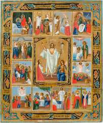 A SMALL ICON WITH THE RESURRECTION OF CHRIST AND THE TWELVE FESTIVALS OF THE ORTHODOX YEAR Russia