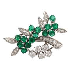 SHILLING brooch with emeralds and diamonds