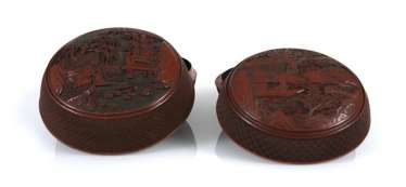 Two Cover boxes made of lacquer red with figure scene