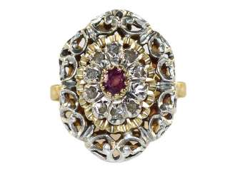 Demiparure ruby 750 yellow gold