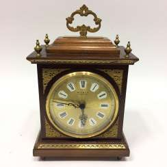 Table clock / essay-clock: wood case with brass fittings.