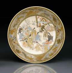 Satsuma bowl with decor of a court scene in the mirror, and floral edging