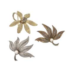 THEODOR FAHRNER set of 3 floral brooches,