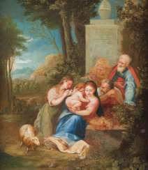 HOLY FAMILY WITH THE MOTHER OF GOD THE CHRIST CHILD, JOSEF VON NAZARET, PROBABLY ANNA, JOACHIM AND LEFT POSSIBLY SAINT AGNES WITH SHEEP AND DOVE (BOZZETTO)