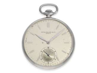 Pocket watch: extremely rare Patek Philippe pocket watch in original steel case, Geneva, 1930, with the master excerpt from the book