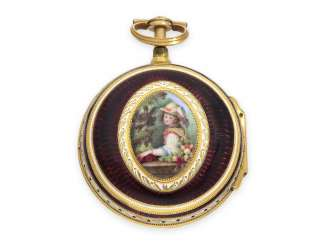 Pocket watch: exquisite, English 22K double case Gold/enamel Spindeluhr with Repetition, Higgs & Evans, No. 9905, Londres, CA. 1780