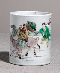 Porcelain brush Cup with a décor of Lao Tzu at the Crossing of Hangu Pass