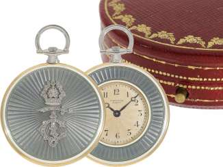 Pocket watch: unique, historically significant Cartier pocket watch with original box, a gift from the English Royal family, under George V, at the same time the Emperor of India, to an Indian Prince-house, including archive information, by Cartier