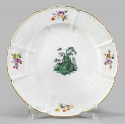 Plate with Watteau scene and floral decoration adorns