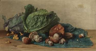 Ludwig Eibl, Still Life with Mushrooms and Salad