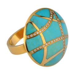 A ring of gold with naturalnoy with turquoise and diamonds