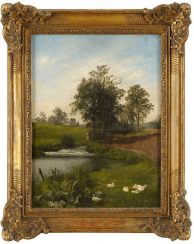 Summer landscape with pond Western Europe, late XIX century