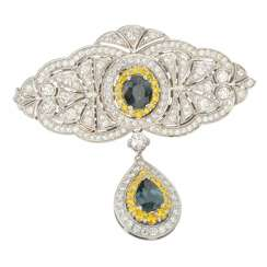 Brooch of gold with diamonds and sapphires
