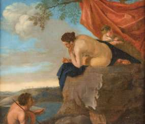 VENUS WITH A NYMPH ON A ROCKY OUTCROP IN STOCK AND WITH A SATYR ENTERTAINING