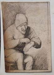 Dutch school 17.century, man with blessed hand, black ink on paper