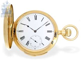 Pocket watch: extremely heavy gold savonnette minute repeater, English design, high quality, around 1885