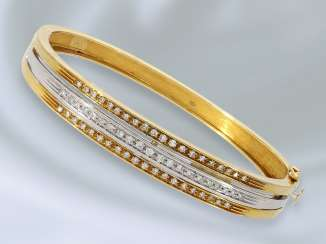 Bracelet: decorative vintage bangle bracelet with diamonds, approximately 0.7 ct, solid gold 18K Gold wrought