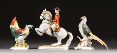 RIDER FIGURE AND TWO BIRD FIGURES