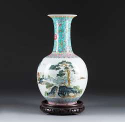 VASE WITH river AND mountain landscape