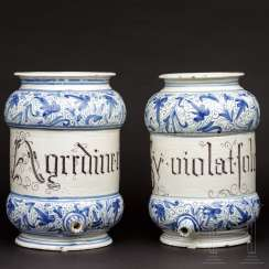 A pair of apothecary jars in the shape of syrup cans, Italy, 17th century