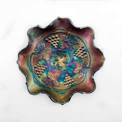 "Serving plate ""Grape and Cable"". USA, Fenton, carnival glass, handmade, 1907-1920"